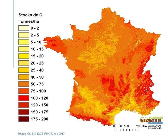 Stock de carbone dans les sols
