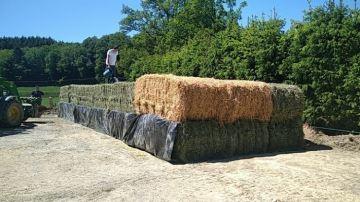 Mi-ensilage, mi-enrubannage: des bottes d'herbe mises en silo