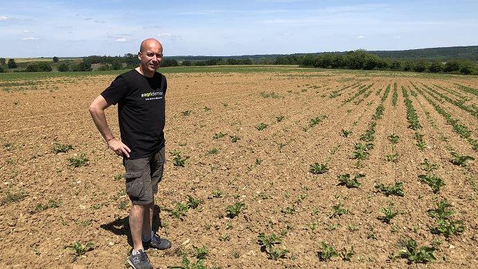 Christophe Grison, devant un champ de betteraves, le mai dernier.