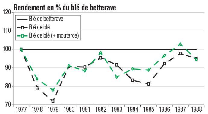 Rendements du blé selon le précédent et la présence ou non de couvert d'interculture, en pourcentage du rendement du blé assolé (blé après betterave)