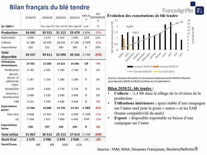Bilan français du blé tendre