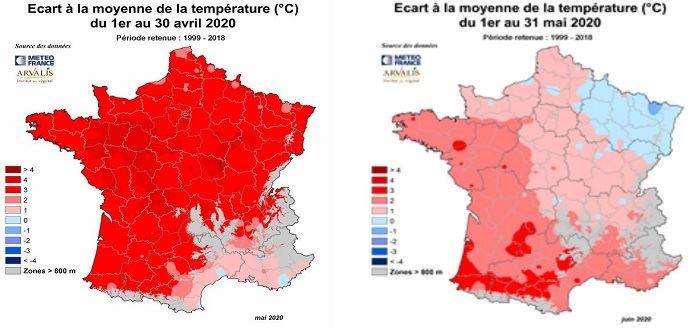 Ecarts de température en avril et mai 2020 par rapport à la moyene sur 20 ans