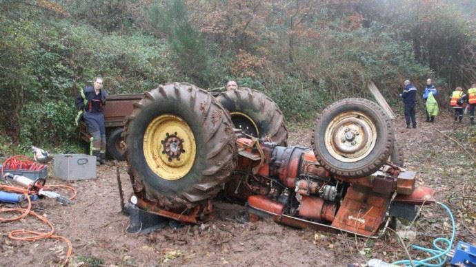 Tracteur retourné