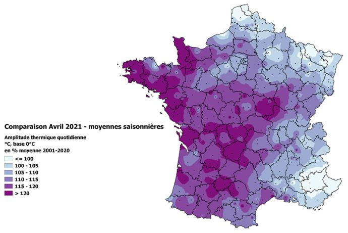 Amplitude thermique quotidienne (en °C) en avril 2021 par rapport à la moyenne saisonnière 2001/2020