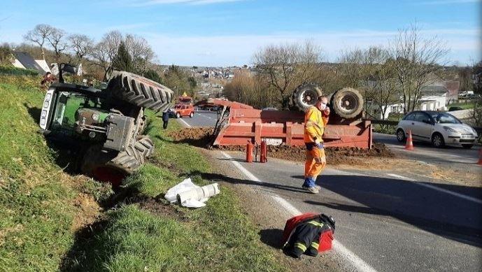 Accident de tracteur à Lannion, en Bretagne, en février dernier.