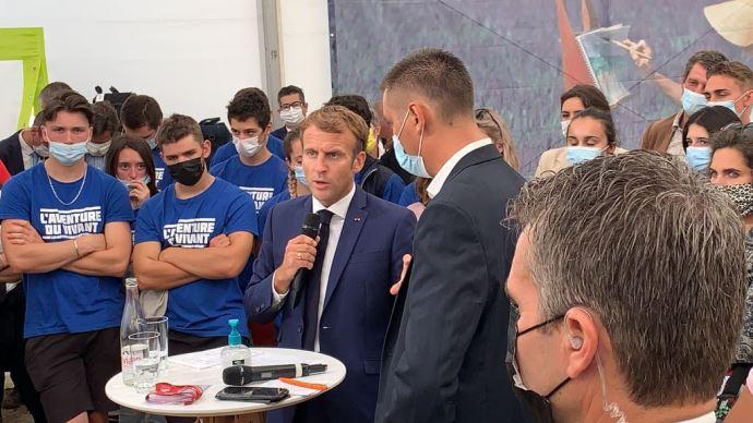 Emmanuel Macron à Terres de Jim, le 10 septembre