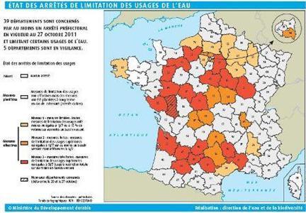 Toujours 39 départements concernés par des restrictions fin octobre (mis à jour le 28 octobre 2011)
