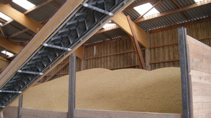Stockage à plat de blé.